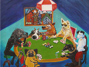The Poker Pack (acrylic on panel) collaborative piece by 2008 Denver Dogmata (Mario Acevedo, Eric Matelski, Tracy Wall, David Menard, Tad Moskal, Russ Wright and Jennifer Mosquera)
