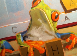 "Detail of frog on ""Learned by Heart"", ©2012 Tracy Wall"