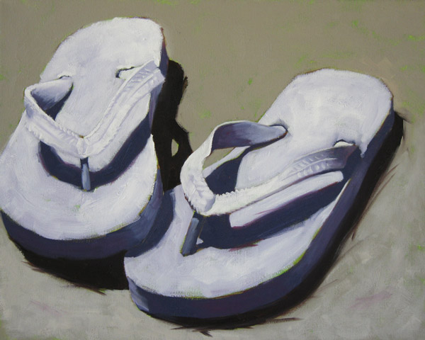 Sunny White Flip Flops, ©2012 Tracy Wall